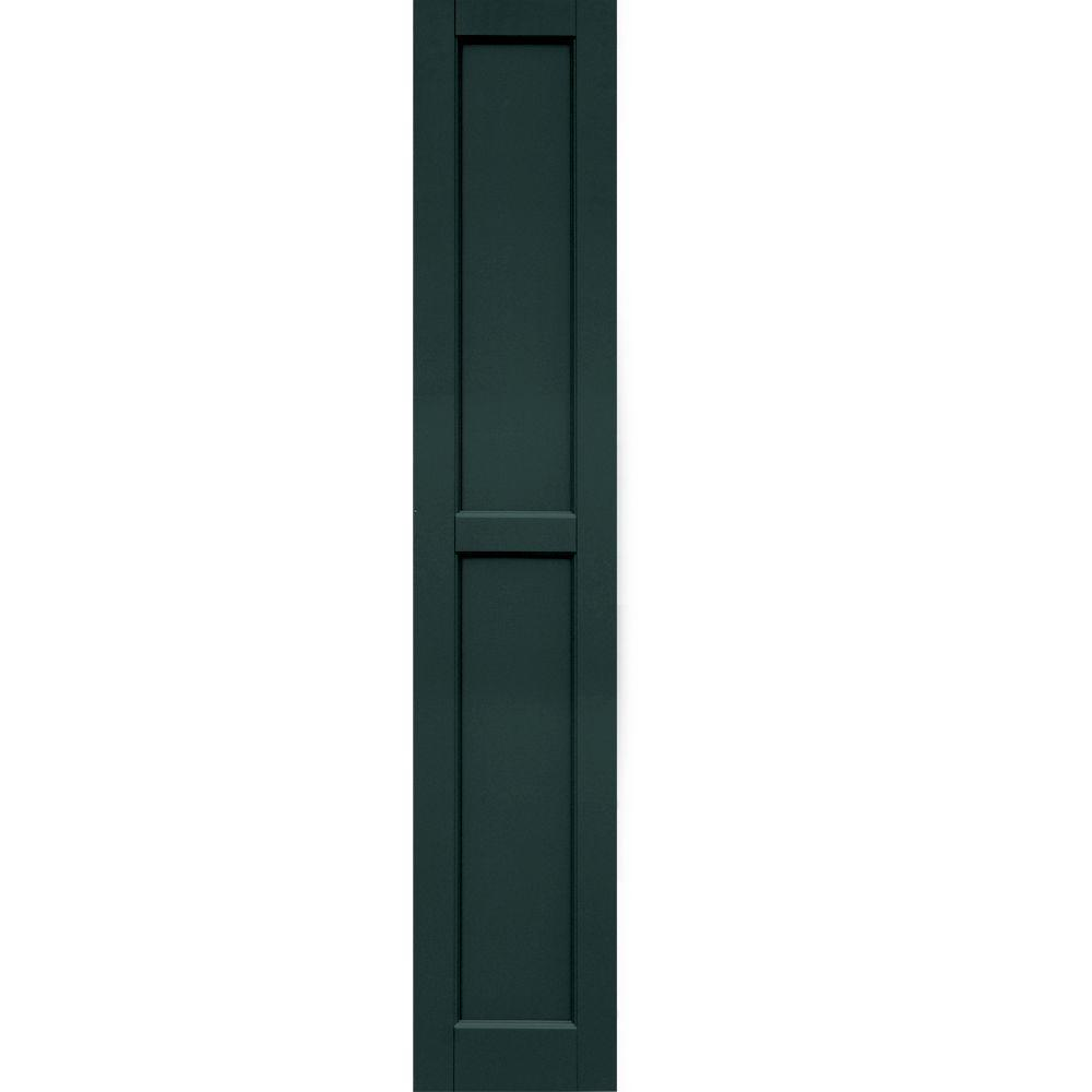 Winworks Wood Composite 12 in. x 65 in. Contemporary Flat Panel Shutters Pair #638 Evergreen