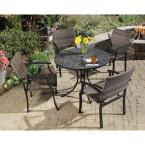 Stone Harbor 40 in. Round 5-Piece Slate Tile Top Patio Dining Set with Newport Chairs