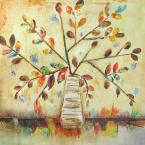 32 in. x 32 in. Color Fall White Hand Painted Contemporary Artwork