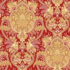 56 sq. ft. Small Paisley Damask Red/Ochre/Pink Wallpaper
