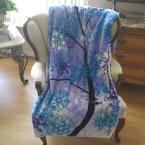 Blue Polyester Patterned Throw