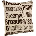 City Hand-Hooked 18 in. W Ivory/Brown New York Pillow