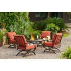 Redwood Valley 5-Piece Patio Fire Pit Seating Set with Quarry Red Cushions