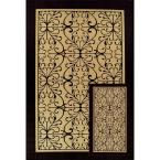 Scroll Beige/Black 6 ft. 5 in. x 9 ft. 6 in. 2-Piece Indoor/Outdoor Rug Set