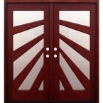 Contemporary 5 Lite Fan Stained Mahogany Double Wood Entry Door