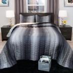 Striped Charcoal and Silver Metallic King 3-Piece King Comforter Set