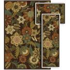 Tao Wild Flowers Brown 4 ft. 11 in. x 7 ft. 3 Piece Rug Set-DISCONTINUED