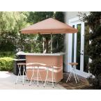 Classic Tan All-Weather Patio Bar Set with 6 ft. Umbrella