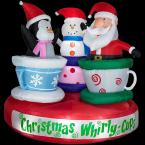 6 ft. Airblown Animated Tea Cup Ride with Santa, Snowman and Penquin
