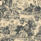 8 in. x 10 in. Charcoal and Cream Large Scale Classic Scenic Toile Wallpaper Sample