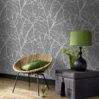 56 sq. ft. Charcoal/Silver Innocence Wallpaper