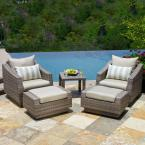 Cannes 5-Piece Patio Chat Set with Slate Grey Cushions