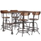 Olson Wood and Metal 5-Piece Counter Height Dining Set in Brown