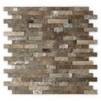 Bengal 11.75 in. x 11.6 in. Stone Adhesive Wall Tile Backsplash in Brown (12-Pack)