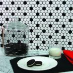 Metro Hex Glossy White with Black Dot 10-1/4 in. x 11-3/4 in. x 5 mm Porcelain Mosaic Tile (8.54 sq. ft. / case)