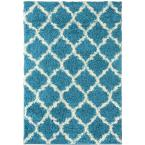 Ultimate Shaggy Contemporary Moroccan Trellis Design Turquoise 6 ft. 7 in. x 9 ft. 3 in. Area Rug