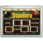 Pittsburgh Steelers 14 in. x 19 in. Scoreboard Clock with Temperature