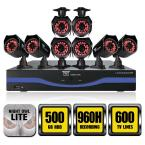 8-Channel 960H Surveillance System with 500GB Hard Drive and (8) 600 TVL Cameras