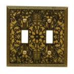 Filigree 2 Toggle Wall Plate - Antique Brass