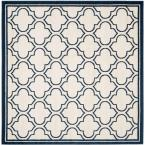 Amherst Ivory/Navy 7 ft. x 7 ft. Square Indoor/Outdoor Area Rug