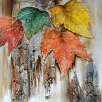 "47 in. x 47 in. ""Autumn Leaves"" Hand Painted Contemporary Artwork"