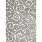 Soft Cozy Contemporary Scroll Light Gray/White 7 ft. 10 in. x 10 ft. Indoor Shag Area Rug