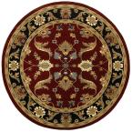 Adana Red/Black 9 ft. 1 in. x 9 ft. 1 in. Round Plush Indoor Area Rug