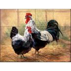Black Rooster and Hen 17 in. x 12-3/4 in. Ceramic Mural Wall Tile