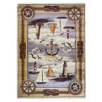 Wilderness Design Nautical Lighthouse Rudder and Rope Beige 5 ft. 2 in. x 7 ft. 1.5 in. Indoor Area Rug