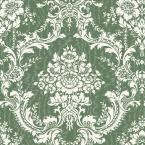 56 sq. ft. Green Mid Scale Damask on Moire Background Wallpaper