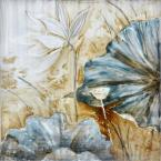"32 in. x 32 in. ""Blue Lotus"" Hand Painted Canvas Wall Art"