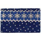 Snow Pattern 18 in. x 30 in. Hand Woven Coconut Fiber Door Mat