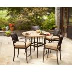 Madison 5-Piece Patio High Dining Set with Textured Golden Wheat Cushions