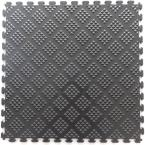 Multi-Purpose 18.3 in. x 18.3 in. Metallic Pewter PVC Garage Flooring Tile with Raised Diamond Pattern (6-Pieces)