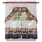 Burgundy Polyester Rooster Printed Tier and Swag Curtain - 24 in. W x 57 in. L (2-Pack)