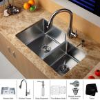 All-in-One Undermount 32x20x10 0-Hole Double Bowl Kitchen Sink with Stainless Steel Kitchen Faucet