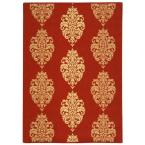 Courtyard Red/Natural 4 ft. x 5.6 ft. Area Rug