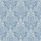 56.4 sq. ft. Barnes Blue Paisley Damask Wallpaper
