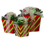 14 in. Pre-Lit Red/Green Striped Presents with Clear Lights (Set of 3)