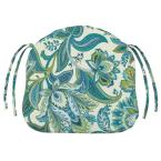 18 in. W Valbella Teal Polyester Contoured Bullnose Outdoor Chair Cushion