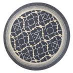 Outdoor Filigree Charcoal 7 ft. 6 in. x 7 ft. 6 in. Round Area Rug
