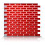 Murano Cosmo 10.25 in. x 9.125 in. Peel and Stick Mosaic Decorative Wall Tile in Red (6-Pack)