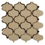 Steppe Eastern Crema and Emperador Polished Marble Waterjet Mosaic Floor and Wall Tile - 3 in. x 6 in. Tile Sample