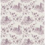 56 sq. ft. Laure Purple Toile Wallpaper