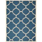 Courtyard Navy/Beige 9 ft. x 12 ft. Area Rug