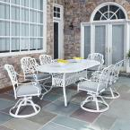 Floral Blossom White 7-Piece All-Weather Patio Dining Set with Cushions