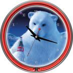 14 in. Coca Cola Polar Bear with Coke Bottle Neon Wall Clock