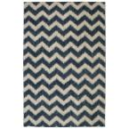 Stitched Chevron Blue 8 ft. x 10 ft. Area Rug