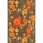 Sweet Home Collection Floral Design Brown 3 ft. 3 in. x 4 ft. 7 in. Indoor Area Rug