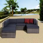 Clermont Grey 6-Piece All-Weather Wicker Patio Seating Set with Gray Cushions